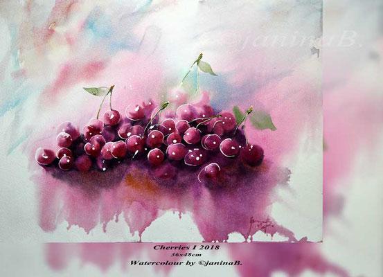 Cherries I 2018 36x48cm (M1) / Watercolour by ©janinaB.