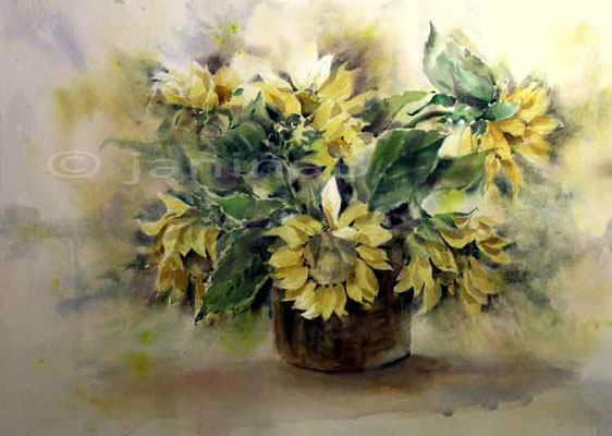 Sonnennblumen I / Aquarell 76x56cm