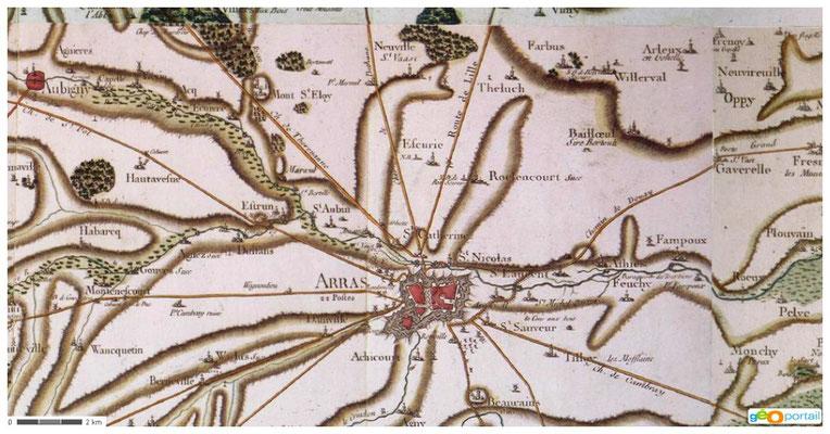 Carte Arras 18ème siècle