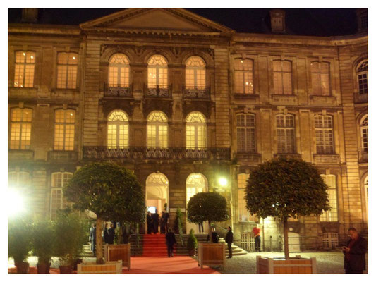 Museum courtyard by night
