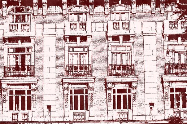 penciled facade