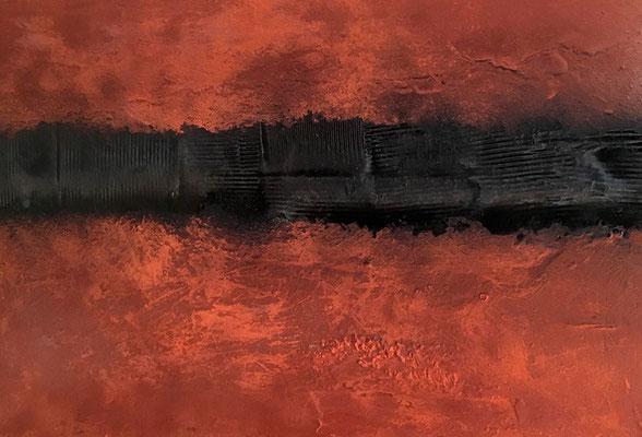 Chant de la Terre n°174  Oxydes intemporels / Peinture sur toile / Format : 130x100cm / Latitude : 47°25 / Longitude : 2°03 / Date : 2018  Salbris