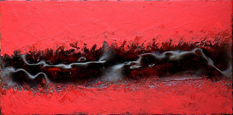 Chant de la Terre n°159  Mouvements telluriques / Peinture sur toile / Format : 40x80cm / Latitude : 47°25 / Longitude : 2°03 / Date : 2019  Salbris
