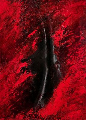 Chant de la Terre n°148  Mouvements telluriques / Peinture sur toile / Format : 50x70cm / Latitude : 47°25 / Longitude : 2°03 / Date : 2019  Salbris