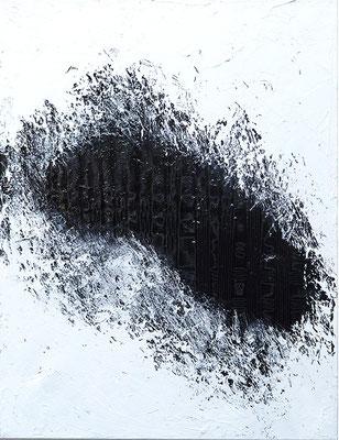 Chant de la Terre n°164  Influences lunaires / Peinture sur toile / Format : 50x65cm / Latitude : 47°25 / Longitude : 2°03 / Date : 2018  Salbris