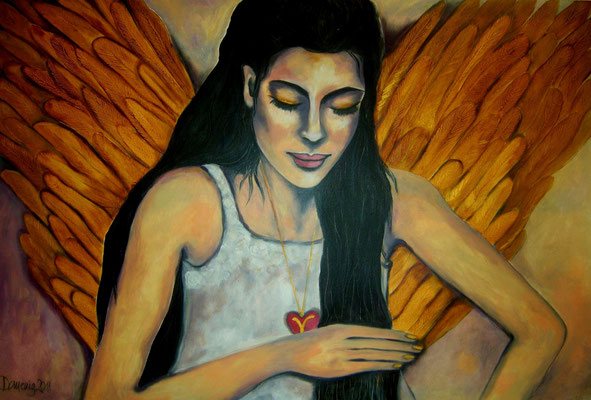 Victoria`s Guardian Angel. 80x120x2cm. Acryl auf Leinwand.