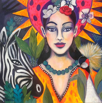Paraidse Madonna and her crowned crane. 60x60cm.