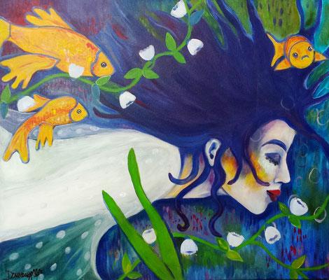 Floating with Fishes. 50x70x2cm. Acryl auf Leinwand.