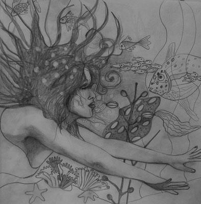 Appointment with a black fish. 30x30cm. Bleistift auf Papier.