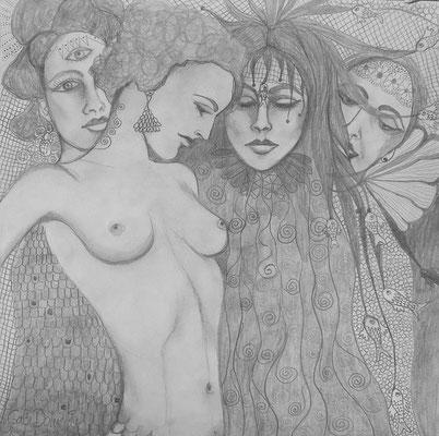 Four Graces. 30x30cm. Bleistift auf Papier.