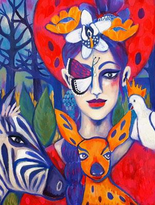 Lady Butterfly & her faithful Companions. Übermalter Druck auf Leinwand.80x60x2cm. Euro 300,--