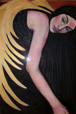 Black dressed Angel. 70x50cm.  Mioschtechnik auf Malplatte.