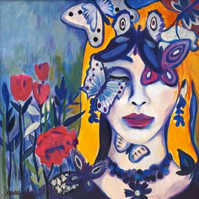 Madame Butterfly.60x60cm. Acryl auf Malplatte gerahmt. Verfügbar. Euro 800.