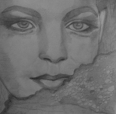 Romy`s eyes. 30x30cm. Bleistift auf Papier.