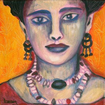 Frida sad. 30x30cm. Acryl auf Leinwand.