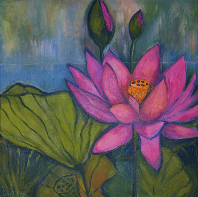 Pink Lotus. 60x60x2cm. Acryl auf Leinwand.