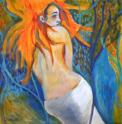 Mermaid. 30x30xcm. Acry auf Papier.