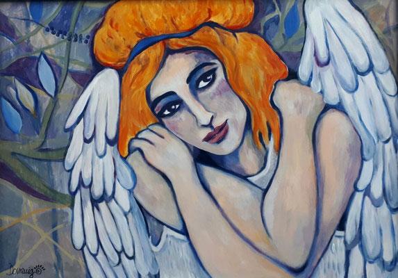 Guardian Angel. 90x72x2cm. Acryl auf Malplatte.