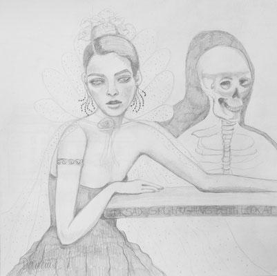 Sad girl, laughing death. 30x30cm. Bleistift auf Papier.