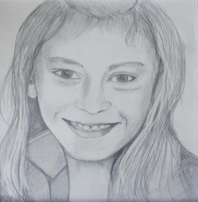 Anna. 30x30cm. Bleistift auf Papier.