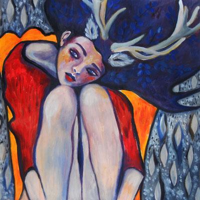 Deergirl. 30x30cm. Acryl auf Papier.