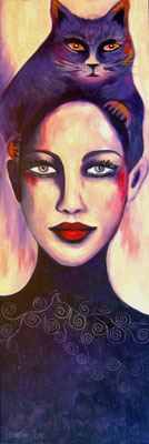 Catwoman purple. 120x40x2cm. Acryl auf Leinwand.