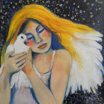Angelgirl with Dove. 30x30 cm. Mischtechnik auf Papier.