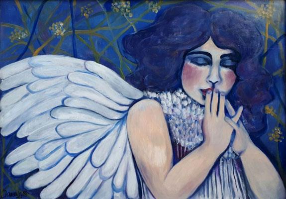 Angelgirl. 90x72x2cm. Acryl auf Malplatte.