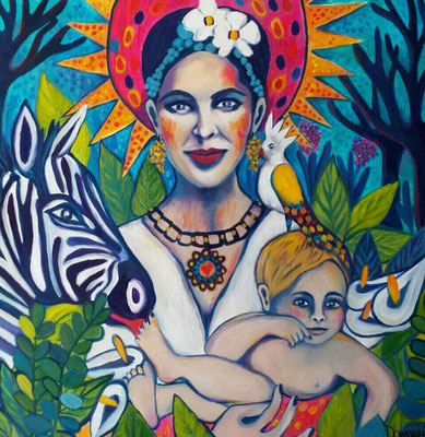 Paradise Madonna Victoria & Child. 80x80x2cm. Acryl auf Leinwand.