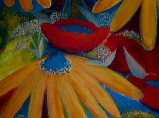Sunflowers & Poppies. 60x60x2cm. Acryl auf Leinwand.