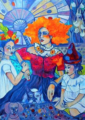 Birthday Garden Party. Waiting for the Clown. Acryl auf Leinwand. 140x100x2cm.