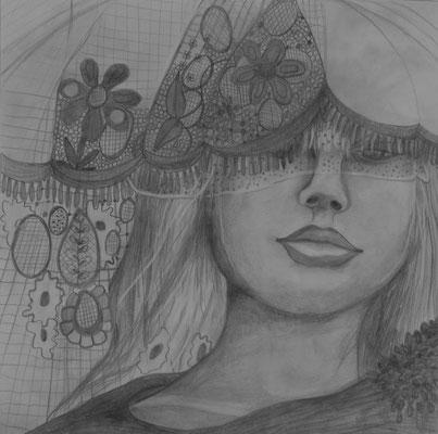 Suzie waiting. 30x30cm. Bleistift auf Papier.