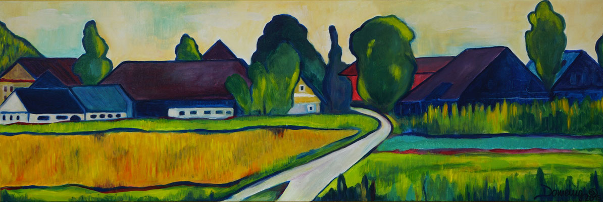 Landschaft nach Werner Berg. 40x120x2cm. Acryl auf Leinwand.