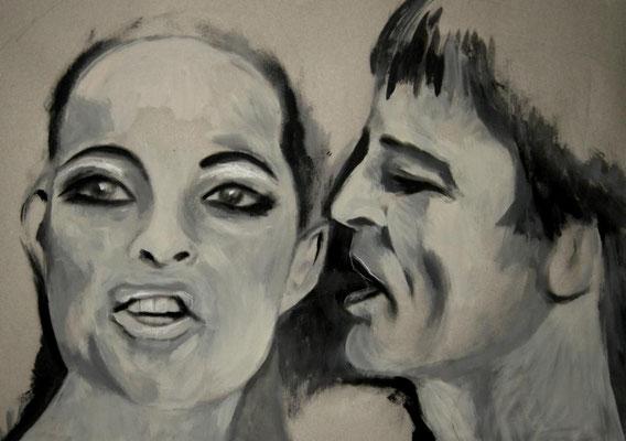 Romy & Klaus. Bleistift und Acryl auf Papier.