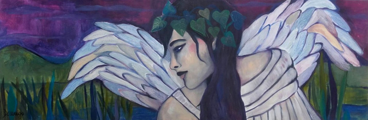 Guardian Angel amit the Green Hills. 50x150x2cm. Acryl auf Leinwand.