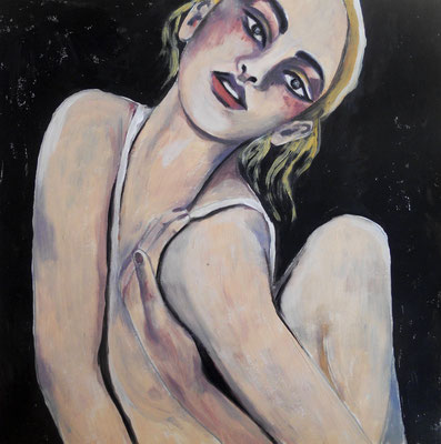 Ballerina black & white. 30x30cm. Acryl auf Papier.