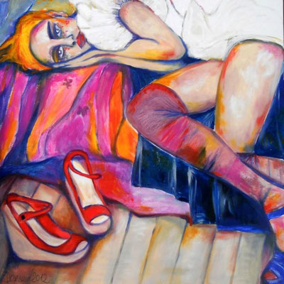 My red shoes don`t help me through loneliness. Acryl auf Leinwand. 80x80x2cm.