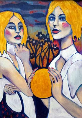 Sisters. Acryl auf Holzplatte. Gerahmt. 89x59,5cm.