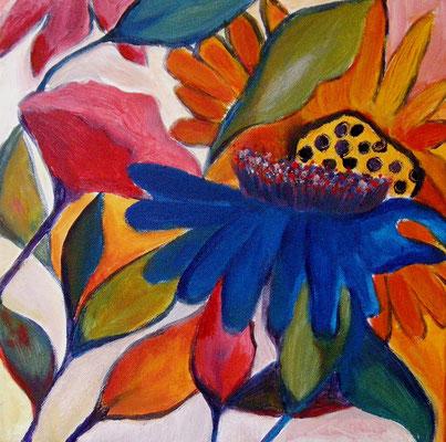 Flowers. 30x30x2cm. Acryl auf Leinwand.