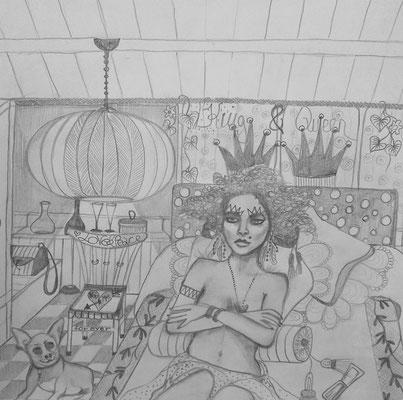 Chihuahua Princess. 30x30cm. Bleistift auf Papier.