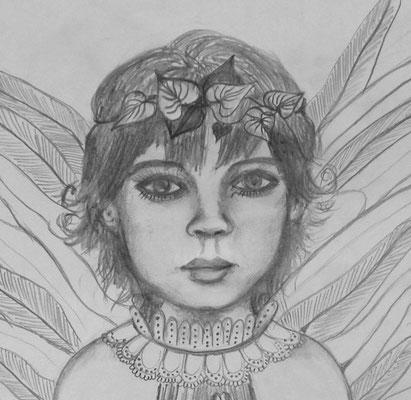 Little Angel Boy. 30x30cm. Bleistift auf Papier.