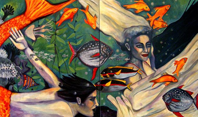 Aquarius and Mermaid. 120x120x2cm. Acryl auf Leinwand.