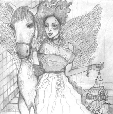 My Pegasus. 30x30cm. Bleistift auf Papier.