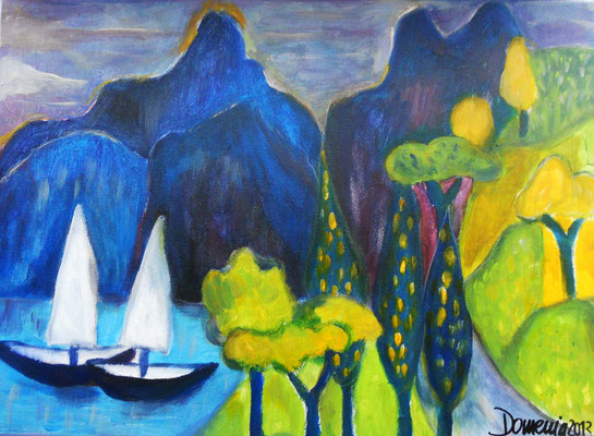 At the lake. 30x40x2cm. Acryl auf Leinwand.