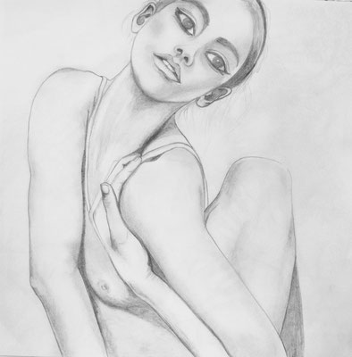 Ballerina. 30x30cm. Bleistift auf Papier.