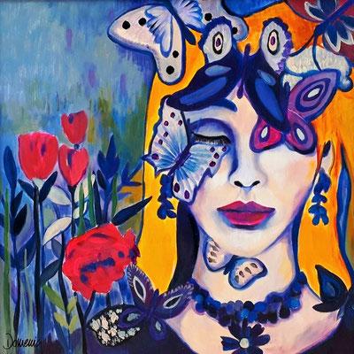 Madame Butterfly. 60x60x2cm. Übermalter Druck. Euro 280,--