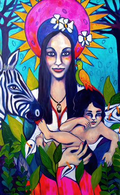 Paradise Madonna Verena & child. 120x80x2cm. Acryl auf Leinwand.