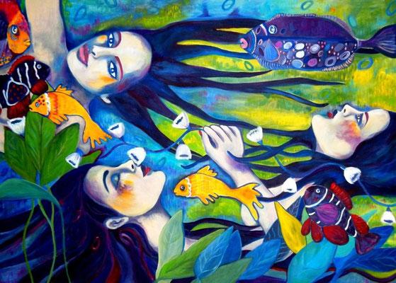 Mermaids floating. 100x140x2cm. Acryl auf Leinwand. Verfügbar. Euro 2000,