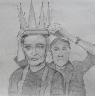 Give me the crown. 30x30cm. Bleistift auf Papier. Euro 230.