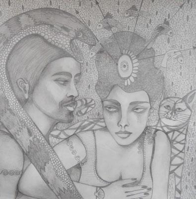 No ordinary Love. 30x30cm. Bleistift auf Papier.